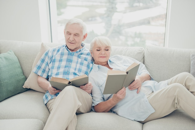 Lovely elderly couple at home