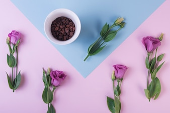 Lovely flowers concept with coffee beans