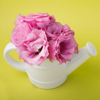 Lovely flowers concept with watering pot