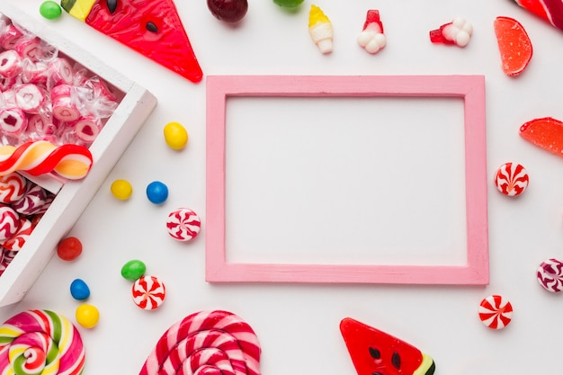 Lovely frame with copy space and candies