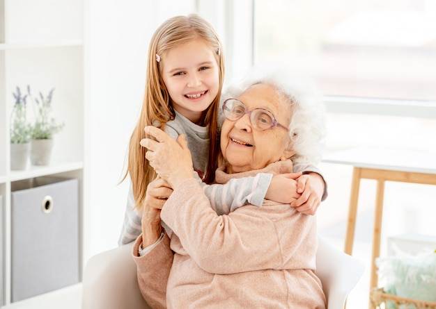 Lovely granny with granddaughter