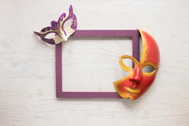 Lovely masks on frame