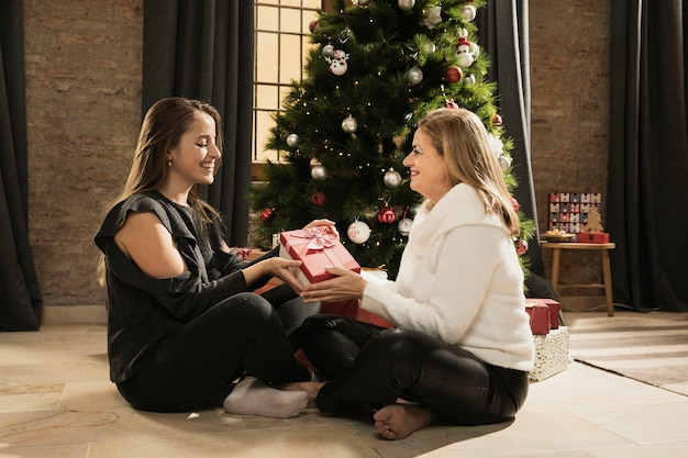 Lovely mother and daughter exchanging presents
