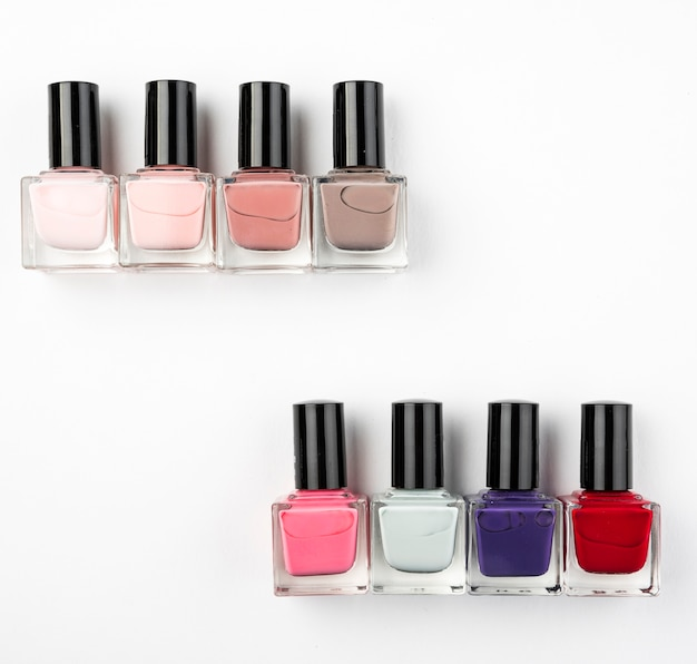 Lovely nail varnish in flat lay
