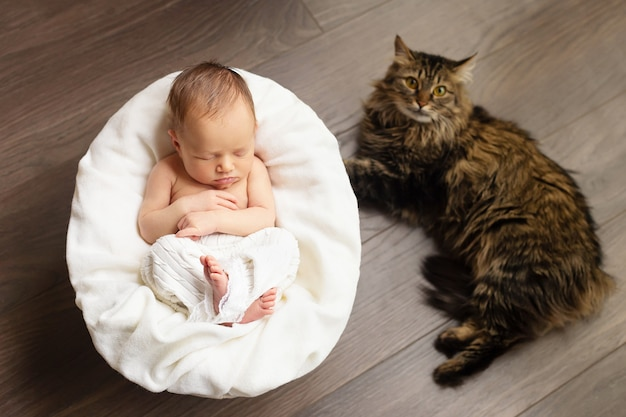 Lovely newborn baby girl is sleeping with a cat