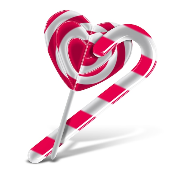 Lovely pink candy cane and lollipop
