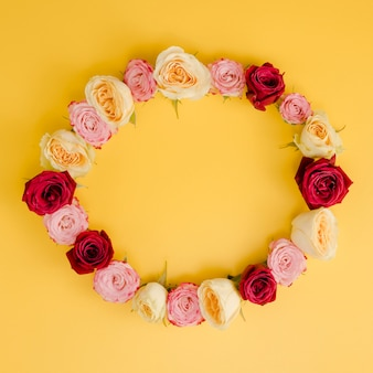Lovely round rose frame top view