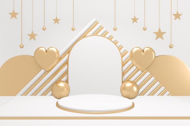 황금과 흰색 배경에 사랑스러운 스타일 adstract 금색과 흰색 연단 최소한의 디자인 제품 장면. 3d 렌더링