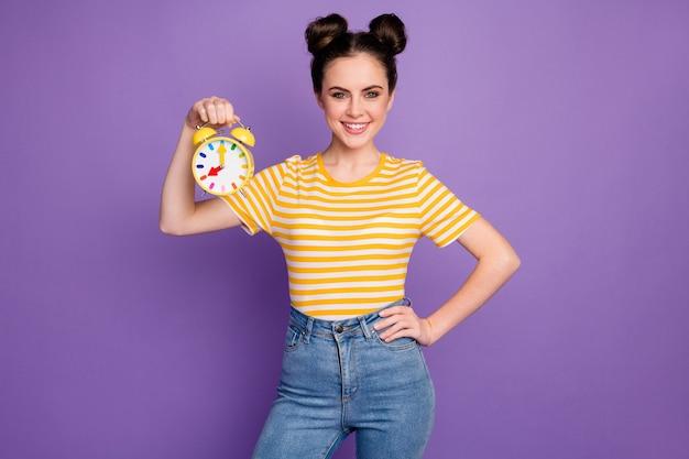 Lovely stylish cheerful brunette girl hold timer clock
