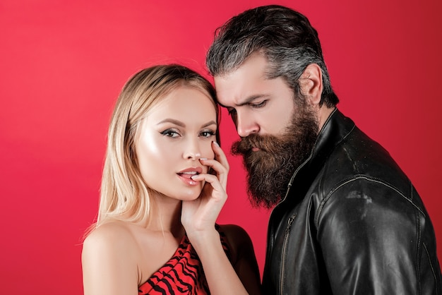 Lovely tender sexy couple lovers gently womans and mans looking fashion couple