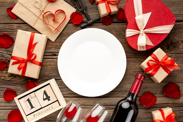 Lovely valentines day dinner assortment with empty plate