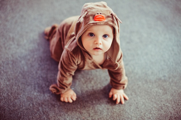 Cervi belli e molto carini vestiti da bambino
