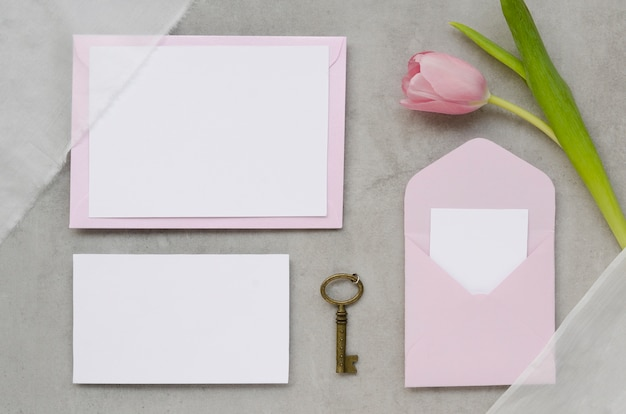Lovely wedding stationery with tulip