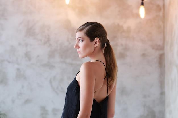 Lovely woman in black dress