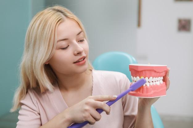 Милая женщина показывает, как правильно чистить зубы, держа модель челюсти и зубную щетку