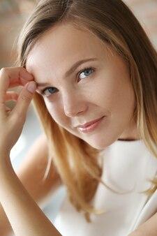 Lovely woman in white dress