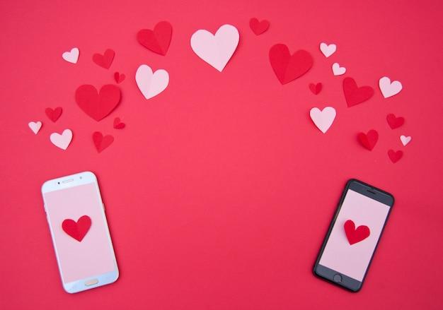 마음-성인 발렌타인 개념 연인의 전화