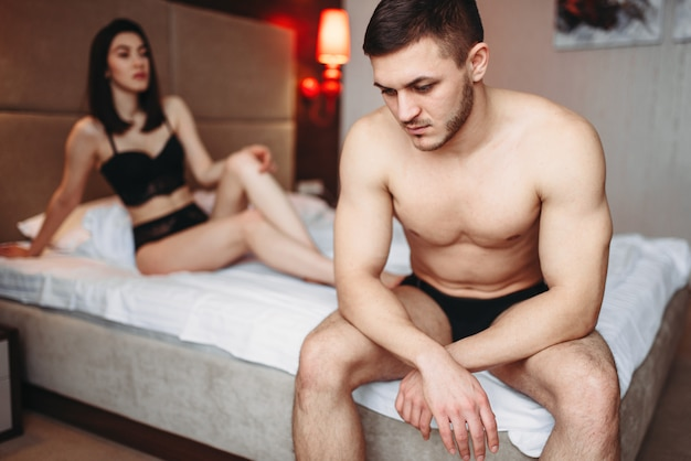 Lovers have problems in bed, failure sex