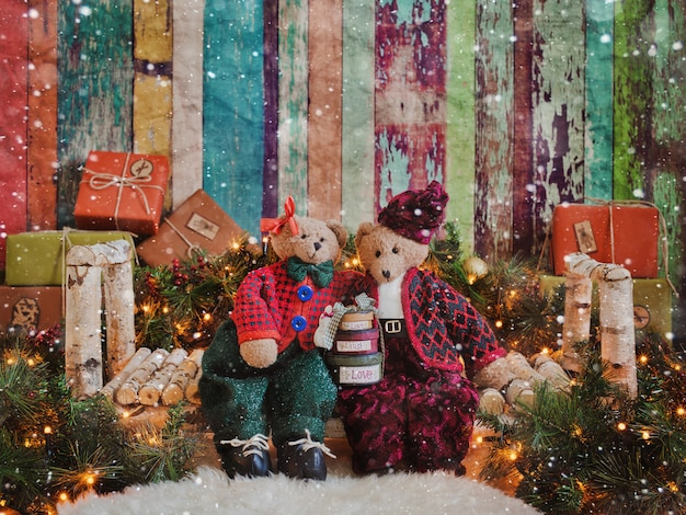 Lovers of vintage bears a christmas background