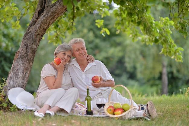 愛する老夫婦は夏の屋外で一緒に時間を過ごします
