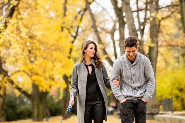 Loving couple in the autumn park