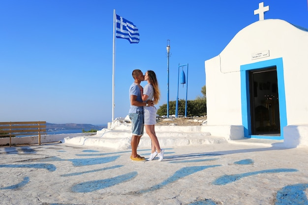 A loving couple, and a beautiful view, rhodes, greece.