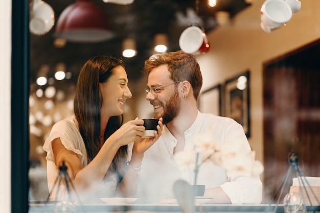 Loving couple in a coffee shop