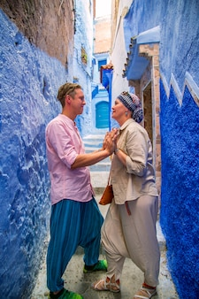 Loving couple in the famous blue city.