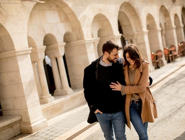 Loving couple walking in budapest, hungary