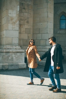 Loving couple walking in budapest, hungary