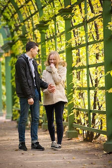Loving couple walking in the park.