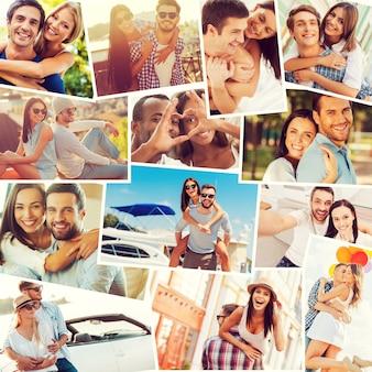 愛するカップル。積極性を表現する多様な多民族の愛情のあるカップルのコラージュ