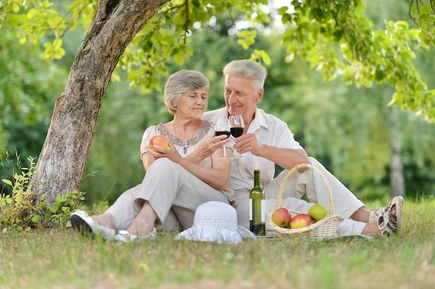 屋外で一緒に時間を過ごす愛する老夫婦