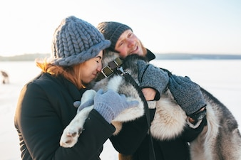 Loving family with dog