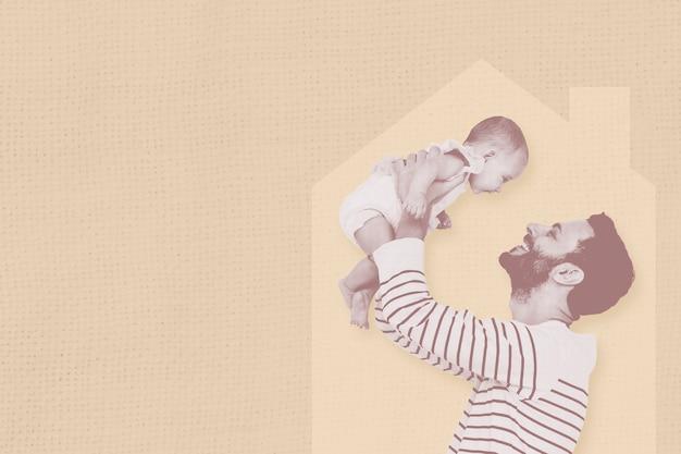 愛情のある父が家で赤ちゃんを育てるグラフィックイラスト