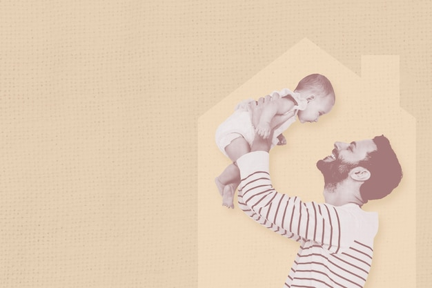 Loving father raising baby up at home graphic illustration