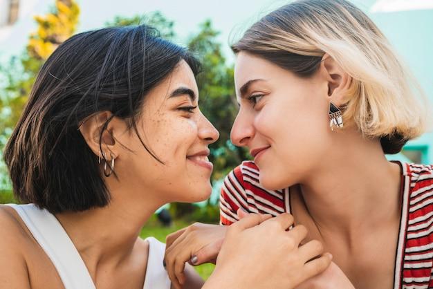 Loving lesbian couple having a date.