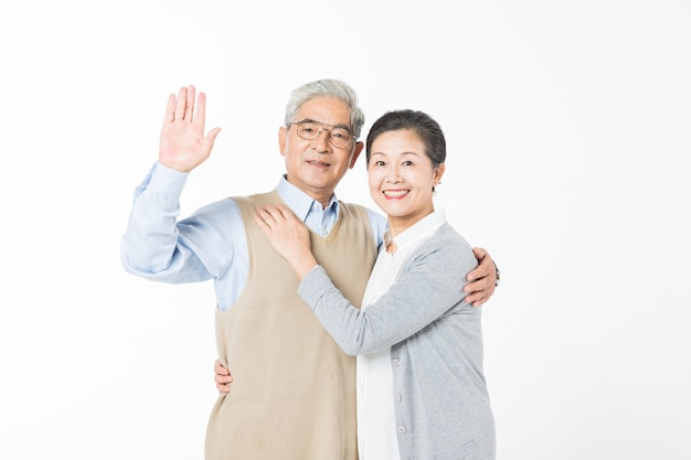 A loving old couple isolated