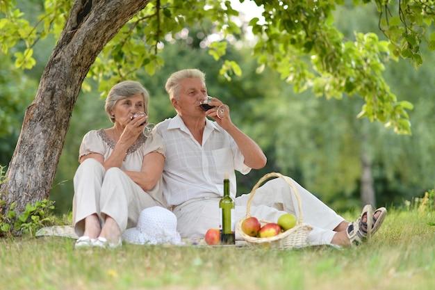 屋外で一緒に時間を過ごす愛する年配のカップル
