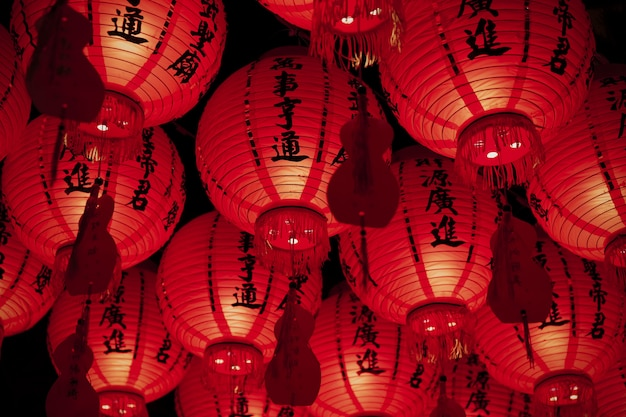 Low angle asian paper lanterns