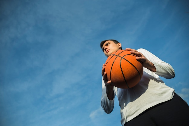 Low angle athlete with copy space