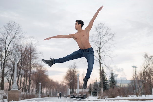 Low angle ballet dancer performing