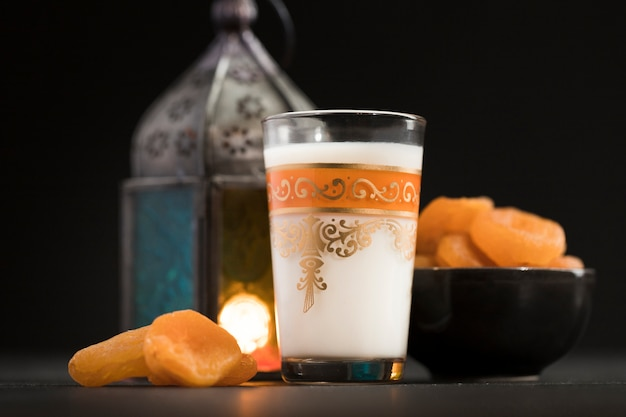 Low angle candle and snack for ramadan day