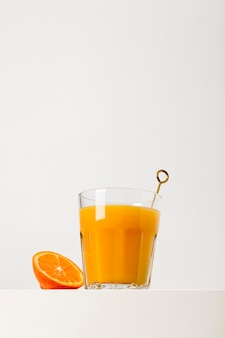 Low angle delicious orange smoothie