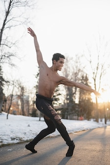 Low angle male ballet performer