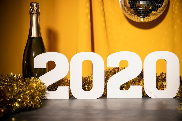 Low angle new year 2020 sign on table