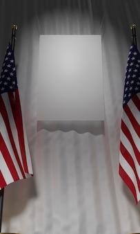 Низкий угол американских флагов с пустым плакатом для выборов в сша