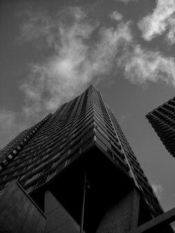 낮은 각도의 높은 현대식 건물