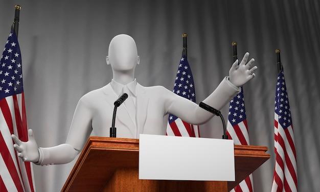 Basso angolo di podio con candidato e bandiere per le elezioni americane