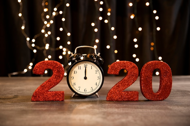 Low angle red sign with new year date